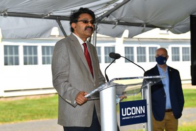 Kumar Venkinanarayanan speaking at event at UConn